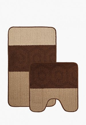 Комплект ковриков Эго 50х80 см, 50х50 см. Цвет: коричневый