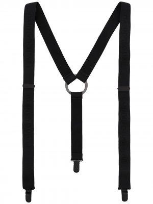 Подтяжки с тисненым логотипом Fumito Ganryu. Цвет: черный