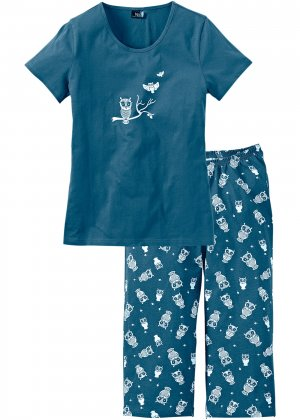 Пижама с брюками капри bonprix. Цвет: сине-зеленый