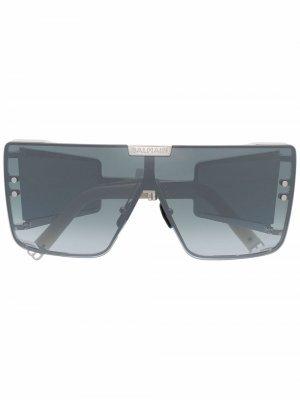 Солнцезащитные очки Wonder Boy в квадратной оправе Balmain Eyewear. Цвет: серебристый