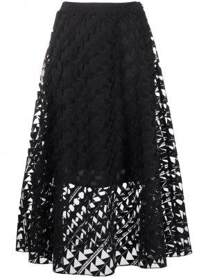 Сетчатая юбка с вышивкой Karl Lagerfeld. Цвет: черный
