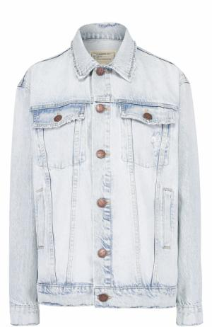 Джинсовая куртка прямого кроя с потертостями Current/Elliott. Цвет: голубой
