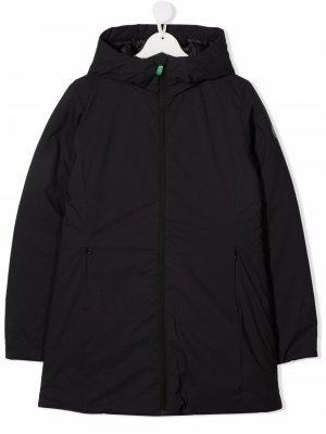 Пальто на молнии с капюшоном Save The Duck Kids. Цвет: черный