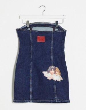 Темно-синее джинсовое платье с ангелами -Черный цвет Fiorucci