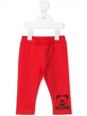 Легинсы с принтом Teddy Bear Moschino Kids. Цвет: красный