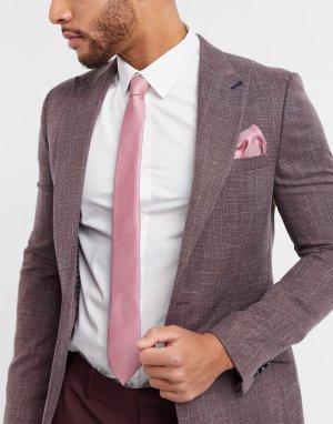 Розовый галстук и платок для нагрудного кармана -Черный Topman