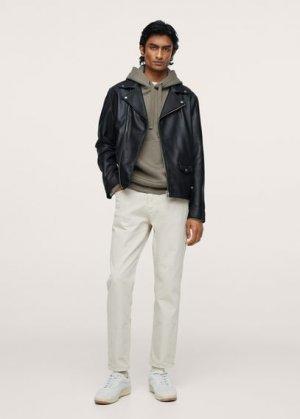 Кожаная куртка с лацканами - Perfect Mango. Цвет: черный