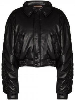 Куртка-бомбер Aida со сборками Nanushka. Цвет: черный
