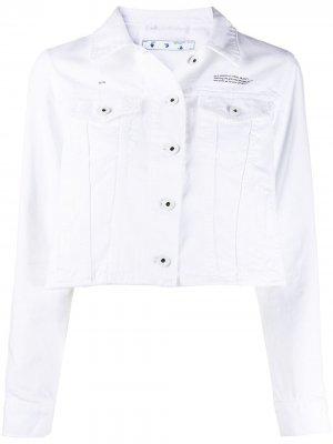 Укороченная джинсовая куртка с логотипом Off-White. Цвет: белый