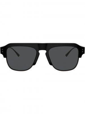 Солнцезащитные очки в квадратной оправе с логотипом VLogo Valentino Eyewear. Цвет: серый