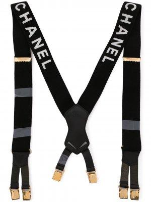 Подтяжки 1997-го года с логотипом Chanel Pre-Owned. Цвет: черный