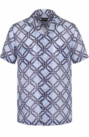 Рубашка с короткими рукавами и отложным воротником Giorgio Armani. Цвет: синий