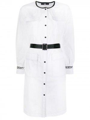 Платье-рубашка с длинными рукавами Karl Lagerfeld. Цвет: белый