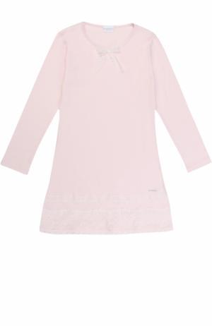Хлопковая сорочка с кружевной отделкой и бантом La Perla. Цвет: розовый