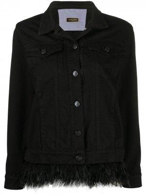 Джинсовая куртка с перьями Simonetta Ravizza. Цвет: черный