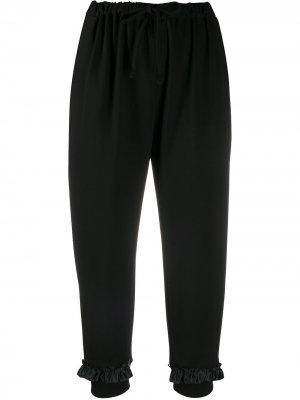 Укороченные спортивные брюки с оборками Simone Rocha. Цвет: черный