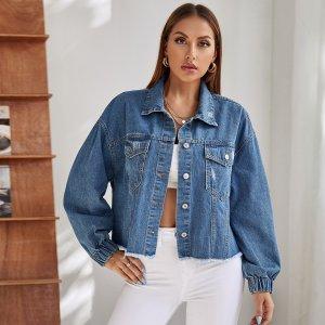 С карманами Одноцветный Повседневный Джинсовые куртки и пальто SHEIN. Цвет: синий цвет средней стирки