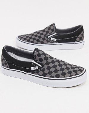 Серые кроссовки-слипоны в шахматную клетку -Серый Vans