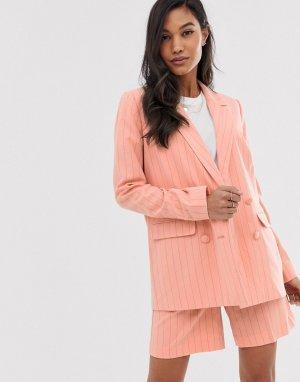 Пиджак в тонкую полоску -Розовый Ichi