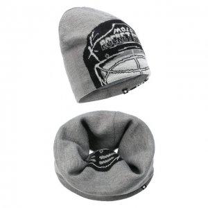 Комплект из шапки и шарфа Kleo MOLO. Цвет: серый