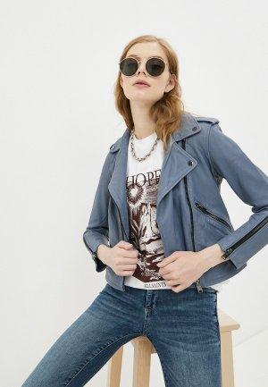 Куртка кожаная AllSaints. Цвет: голубой