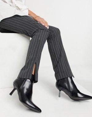 Черные ботинки на фасонном каблуке и с острым носком ASOS DESIGN Reunite-Черный