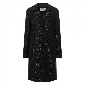 Пальто из шерсти и вискозы Saint Laurent. Цвет: чёрный