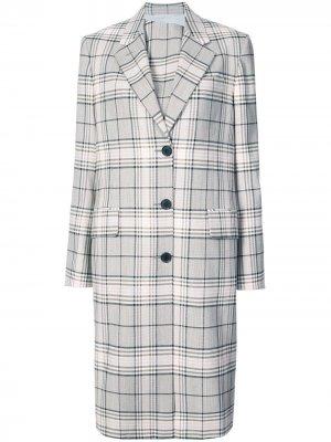 Однобортное пальто классического кроя в клетку Calvin Klein 205W39nyc. Цвет: нейтральные цвета