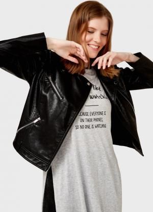 Куртка-косуха из искусственной кожи OSTIN. Цвет: черный