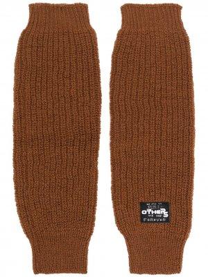 Перчатки с нашивкой-логотипом Raf Simons. Цвет: коричневый