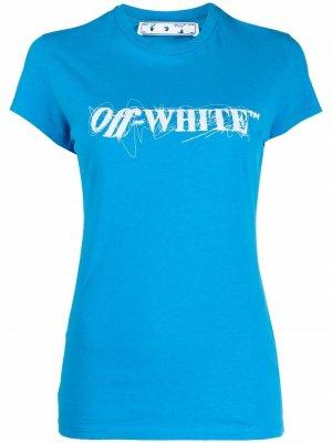 Logo scrawl-print short-sleeve T-shirt Off-White. Цвет: синий