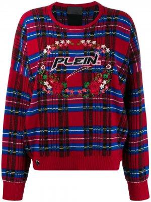 Пуловер с узором тартан Philipp Plein. Цвет: красный