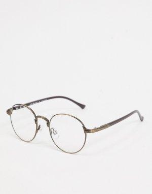 Круглые солнцезащитные очки в оправе бронзового цвета с прозрачными стеклами -Коричневый цвет AJ Morgan