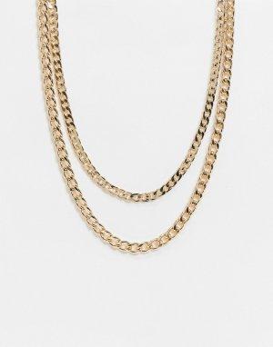 Золотистое ярусное ожерелье из цепочки с разными крупными звеньями -Золотой ASOS DESIGN