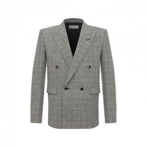 Шерстяной пиджак Saint Laurent. Цвет: чёрно-белый
