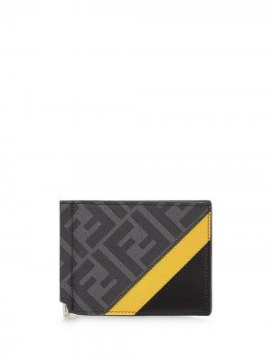 Кошелек с зажимом для банкнот и монограммой Fendi. Цвет: черный