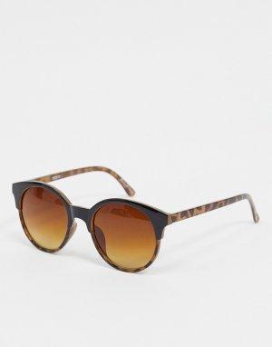 Элегантные круглые солнцезащитные очки в черепаховой оправе Penny-Коричневый Accessorize