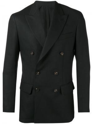 Двубортный пиджак Umit Benan. Цвет: чёрный