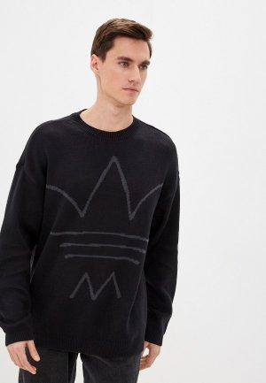Джемпер adidas Originals KNIT CREW. Цвет: черный