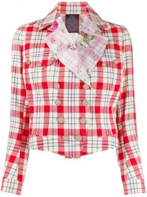 Двубортный пиджак 2001-го года в клетку John Galliano Pre-Owned. Цвет: красный