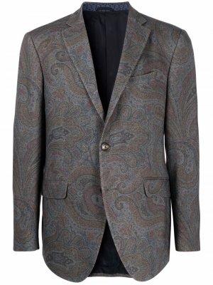 Пиджак с принтом пейсли ETRO. Цвет: серый
