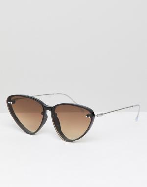 Солнцезащитные очки кошачий глаз в черной оправе с коричневыми стеклами Spitfire. Цвет: черный