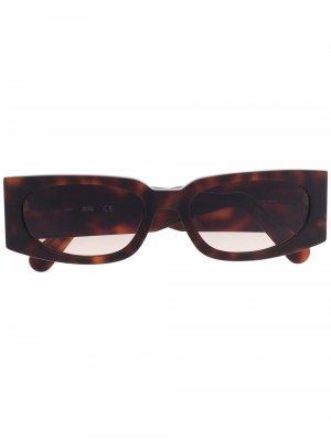 Солнцезащитные очки в прямоугольной оправе черепаховой расцветки Gcds. Цвет: коричневый