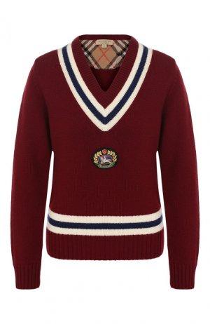 Пуловер из смеси шерсти и кашемира Burberry. Цвет: бордовый