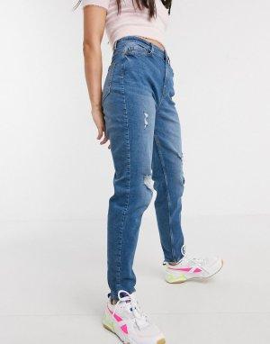 Синие джинсы бойфренда с завышенной талией -Синий Pieces
