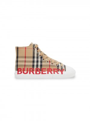 Кеды в клетку Vintage Check с логотипом Burberry Kids. Цвет: нейтральные цвета