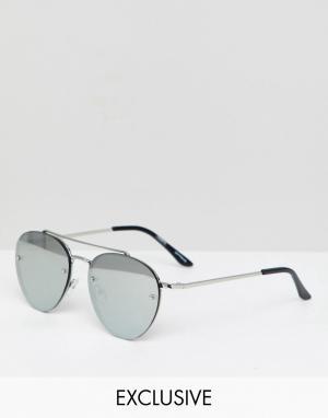 Круглые солнцезащитные очки с серебристыми зеркальными стеклами Inspired Reclaimed Vintage. Цвет: серебряный