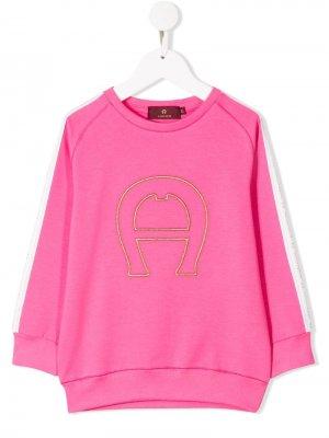 Толстовка с вышивкой Aigner Kids. Цвет: розовый