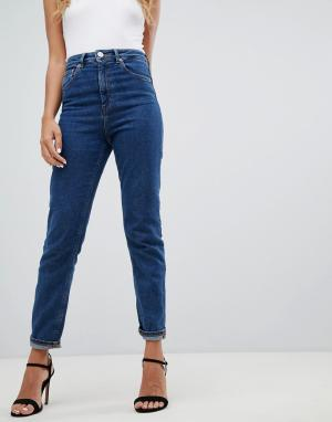 Узкие джинсы с завышенной талией Farleigh-Синий ASOS DESIGN