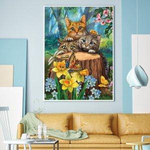 DIY Алмазная картина без рамы с принтом кошки SHEIN. Цвет: многоцветный